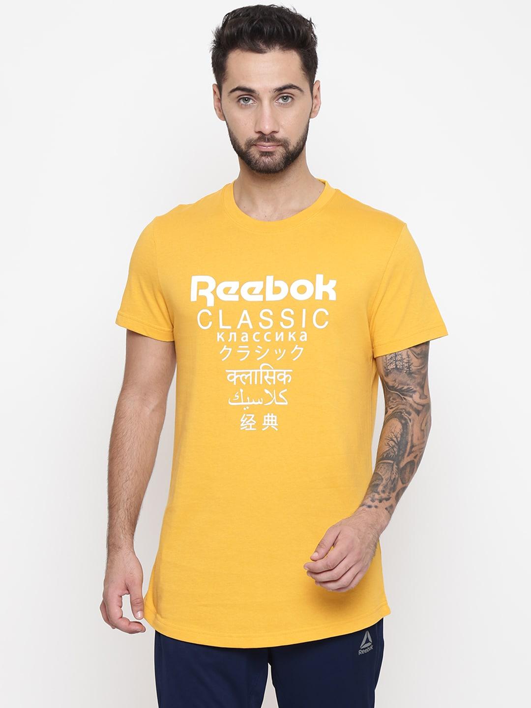 26d61dff Reebok Classic Unisex Mustard Yellow Graphic Print Longer T-shirt