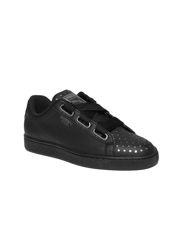be0e475faf974 Puma Women Black Basket Heart Ath Lux Sneakers