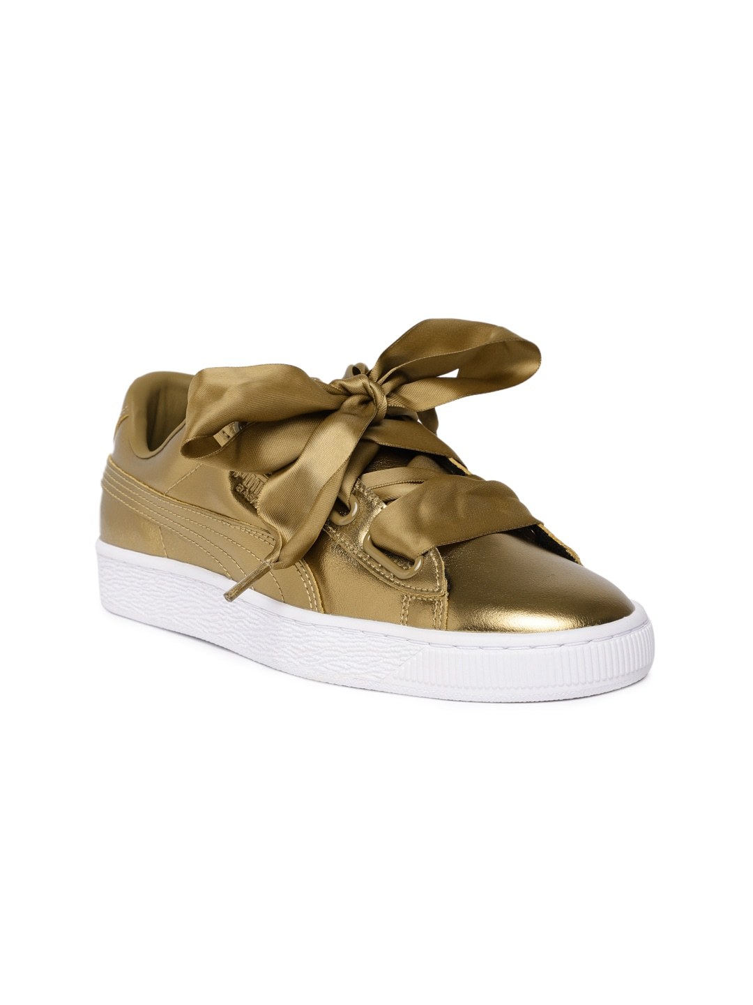 outlet store eed68 88dab Puma Women Gold-Toned Basket Heart Luxe Leather Sneakers