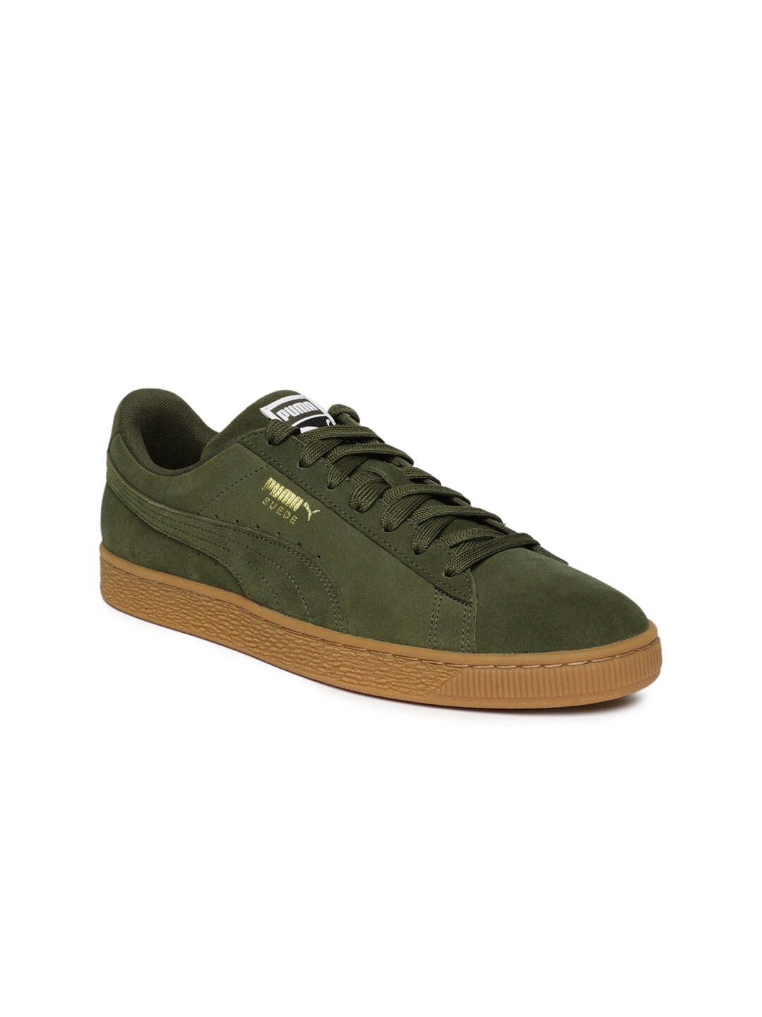 the latest c7336 a459b Puma Men Olive Green Suede Classic Sneakers