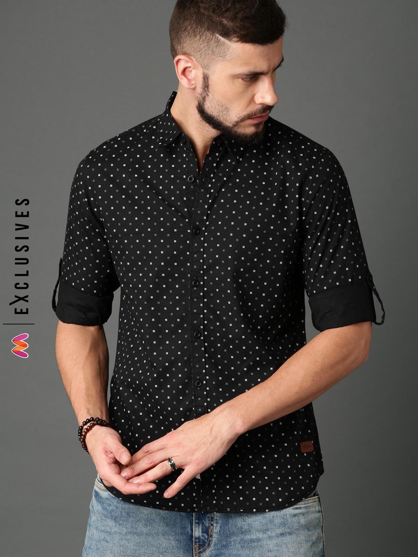 4c8468e1627 Men Black Denim Shirts Tshirts - Buy Men Black Denim Shirts Tshirts online  in India