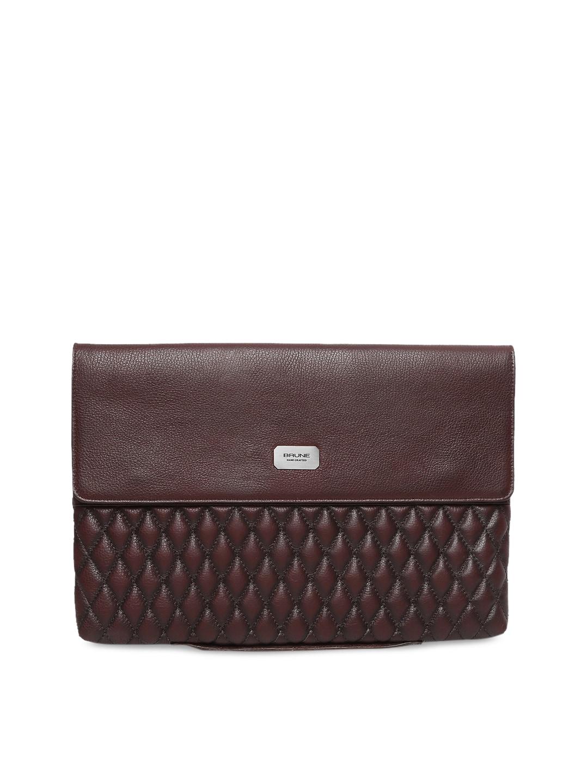b3351823e0 BRUNE Men Burgundy Textured Leather Laptop Sleeve