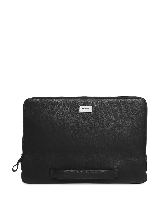 bf7ec1b56e BRUNE Men Black Solid Leather Laptop Sleeve