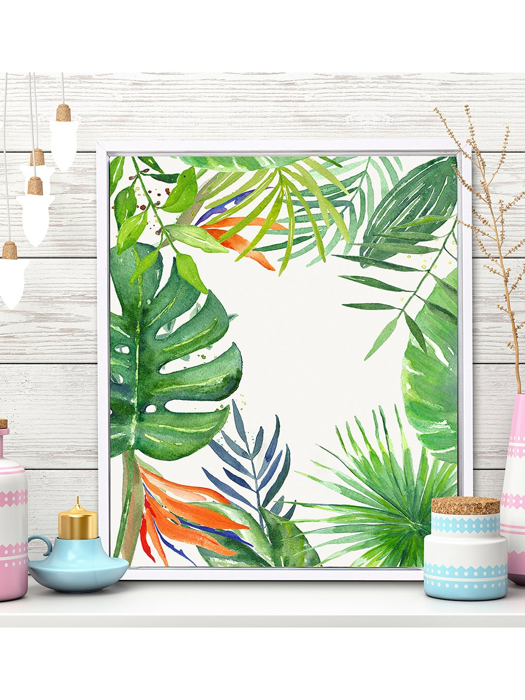 Art Street White Green Tropical Wall Painting
