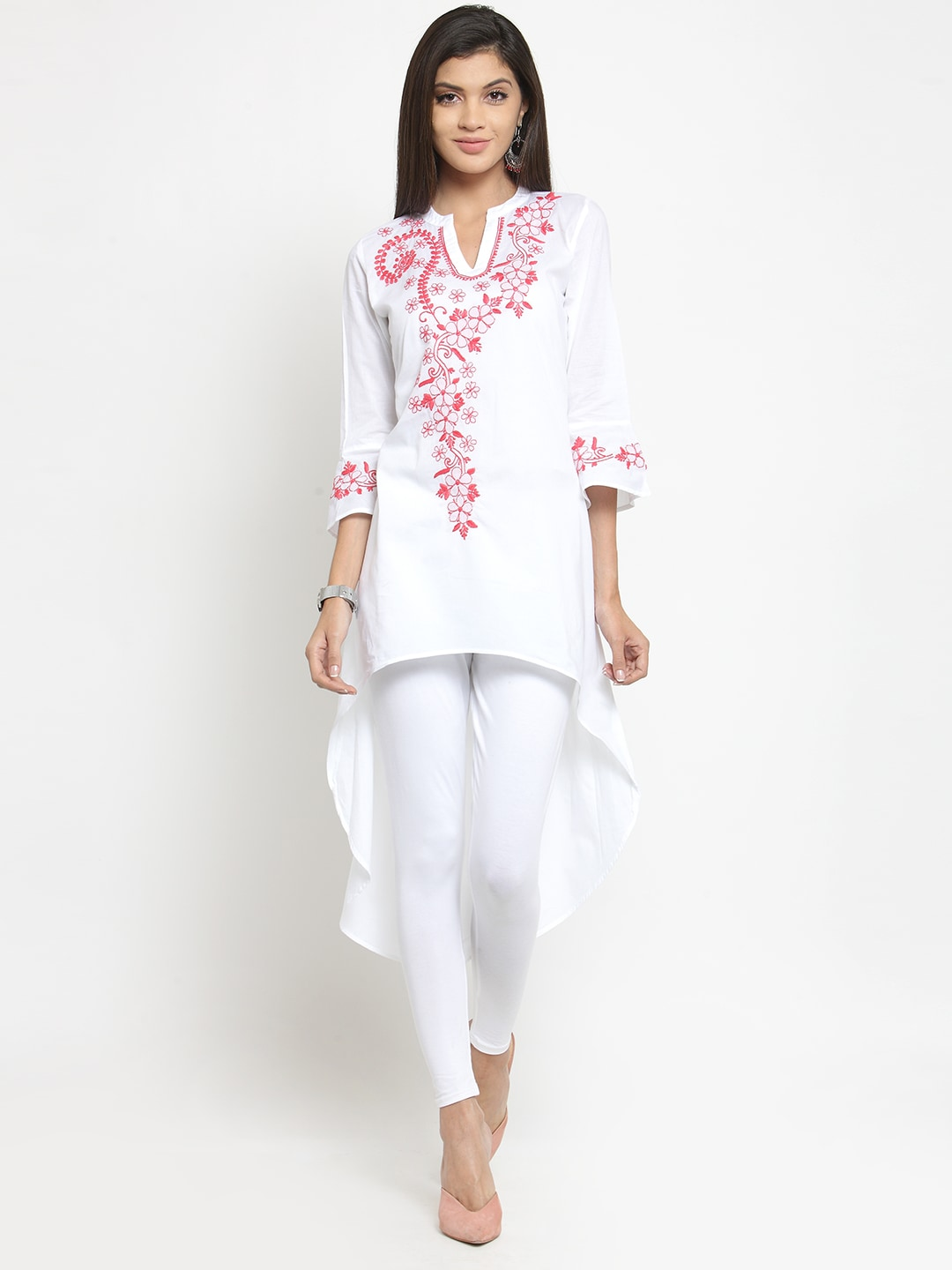 Moedbuille Women White & Pink Chikankari Embroidered A-Line Kurta