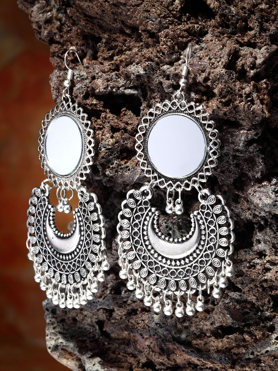 Silver Earrings Buy Silver Earrings Online In India Myntra