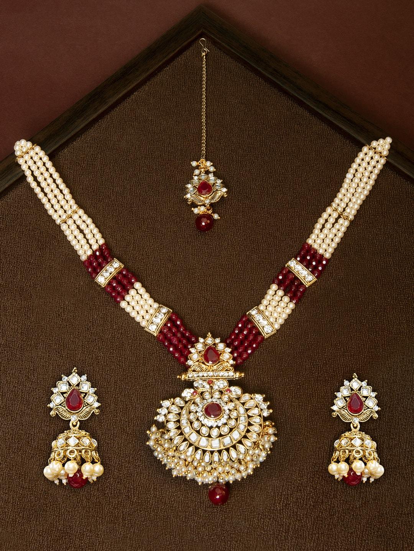 be4e7bb0e27c6 Rubans Gold-Plated Kundan Studded Embellished Faux Ruby Beads Jewellery Set