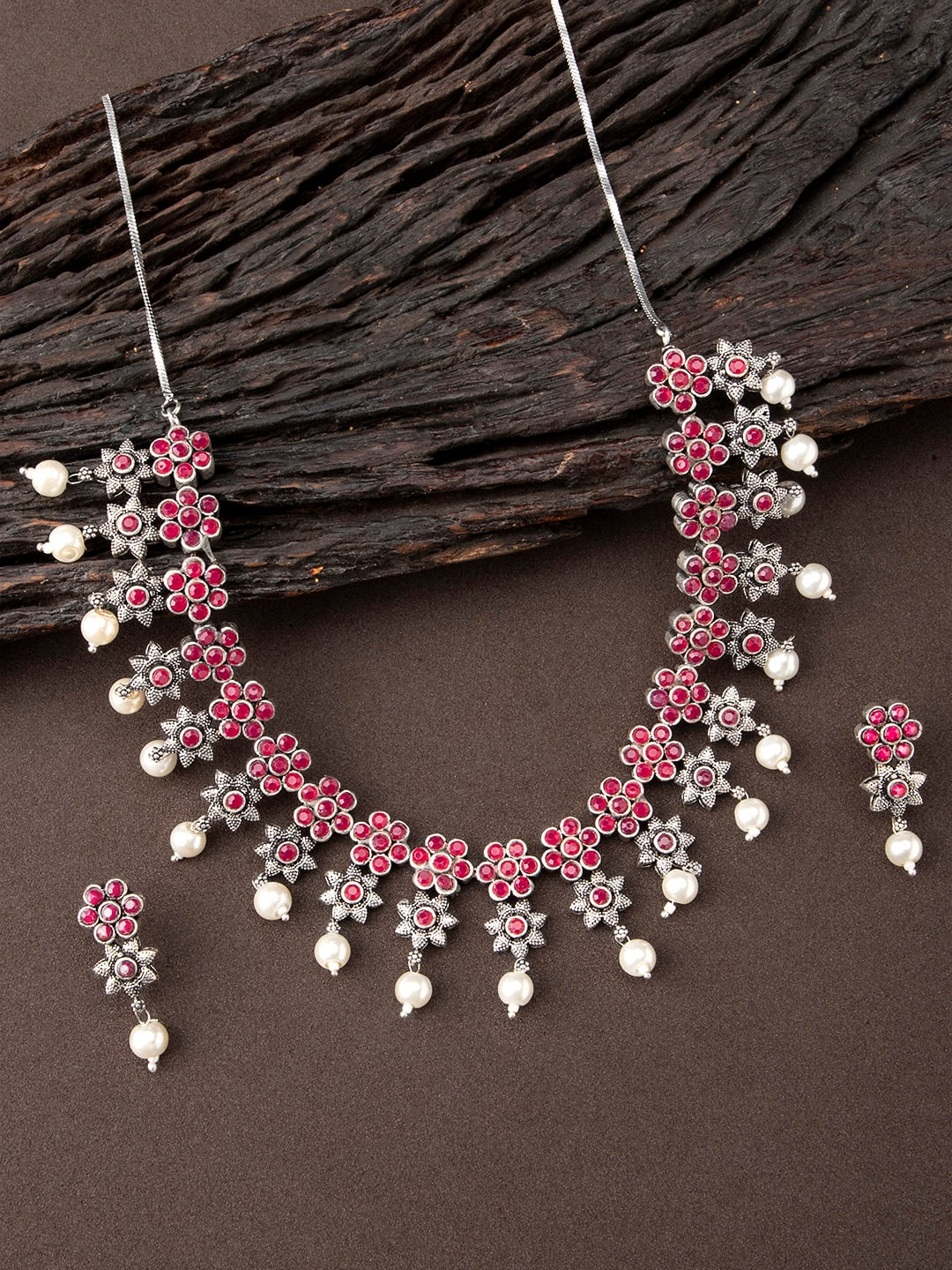Floret Jewelery Fancy Handmade Pink Flower Set With Earrings For Women Gift Item Save 50-70% Engagement & Wedding Bridal & Wedding Party Jewelry