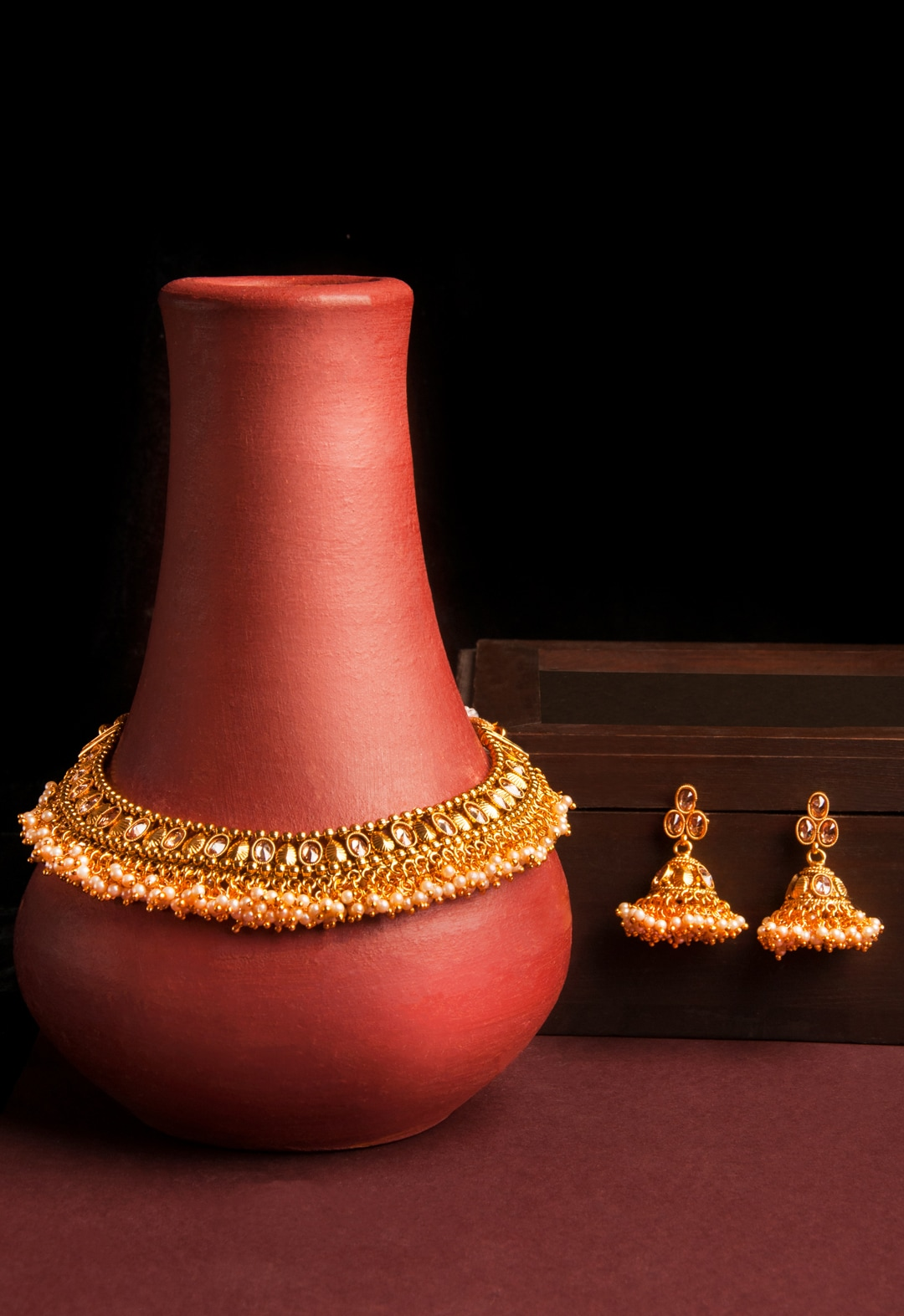 23a1b18735a77 Rubans Gold Plated Kundan & Pearl Embellished Traditional Necklace Set
