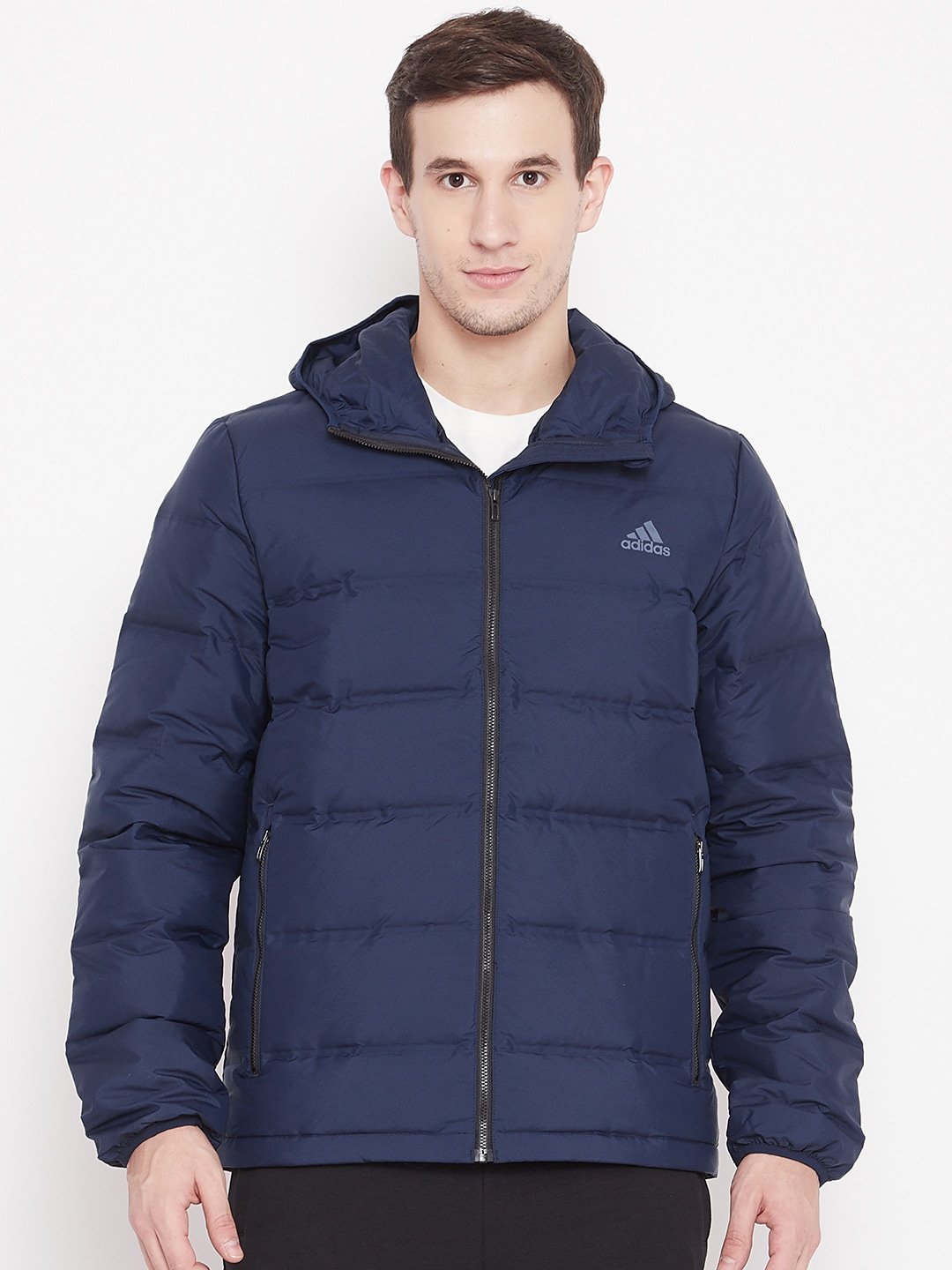 ADIDAS Men Navy Blue Helionic Hooded Down Jacket