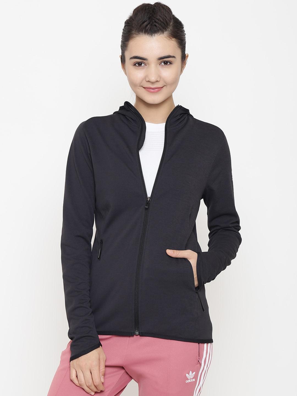 quality design ddb32 a15ff ADIDAS Women Charcoal Grey FL Climacool Solid Hooded Training Sweatshirt