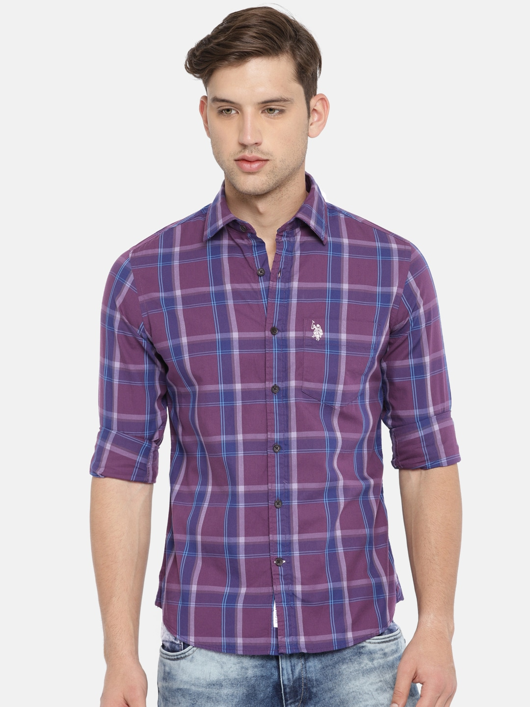 Shirt Casual Purpleamp; U sPolo AssnMen Checked Tailored Blue Fit eBCrdxo