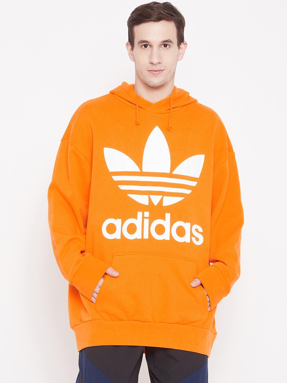 lowest price sells newest collection ADIDAS Originals Men Orange & White Oversize Trefoil Hooded Sweatshirt