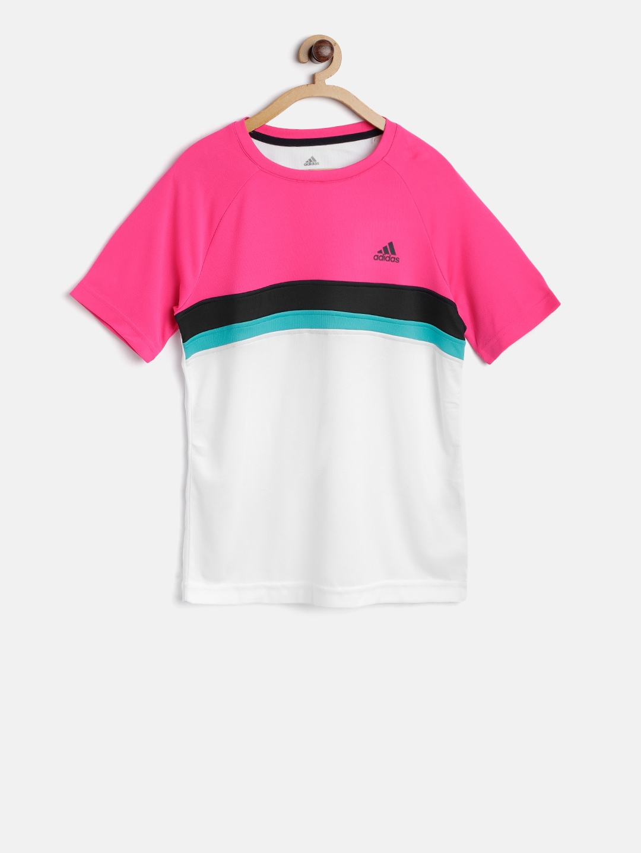 Adidas Boys Pink & Off White Club Colourblocked Tennis T shirt