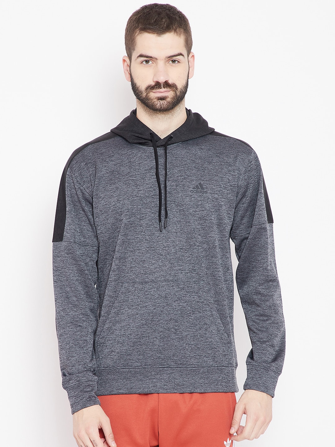 on wholesale nice shoes save up to 80% Adidas Men Charcoal Grey TI FLC PO Hooded Sweatshirt