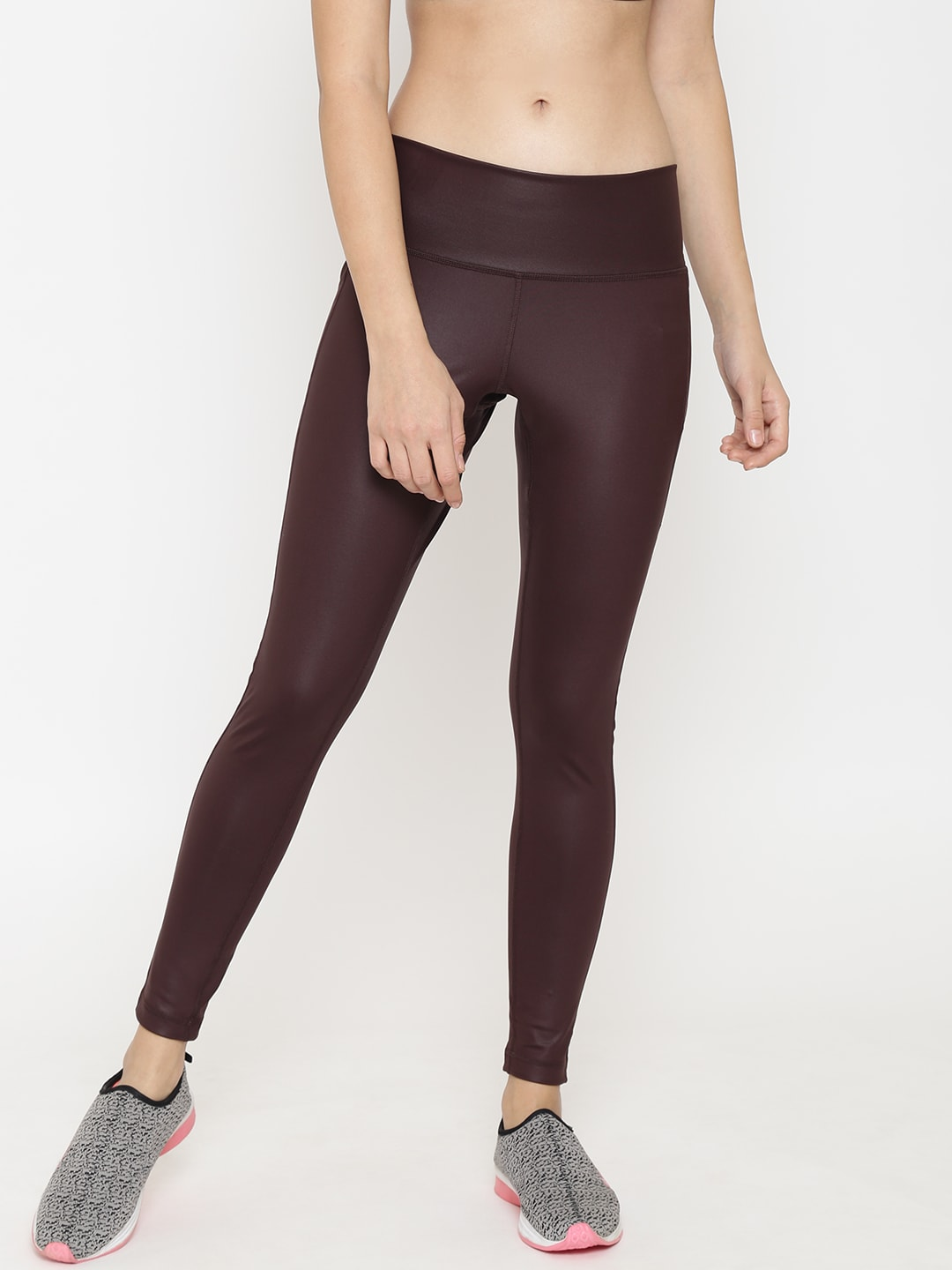 ADIDAS Women Maroon & Beige Printed Believe This High Rise DEF AI Training Tights