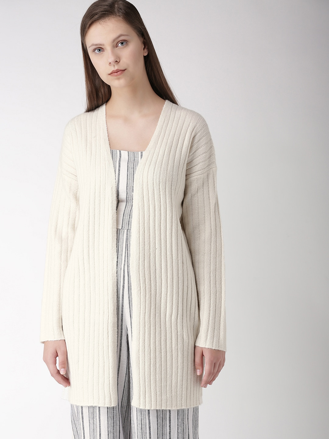 1fd9b8ec2f FOREVER 21 Women Off-White Ribbed Front-Open Longline Sweater