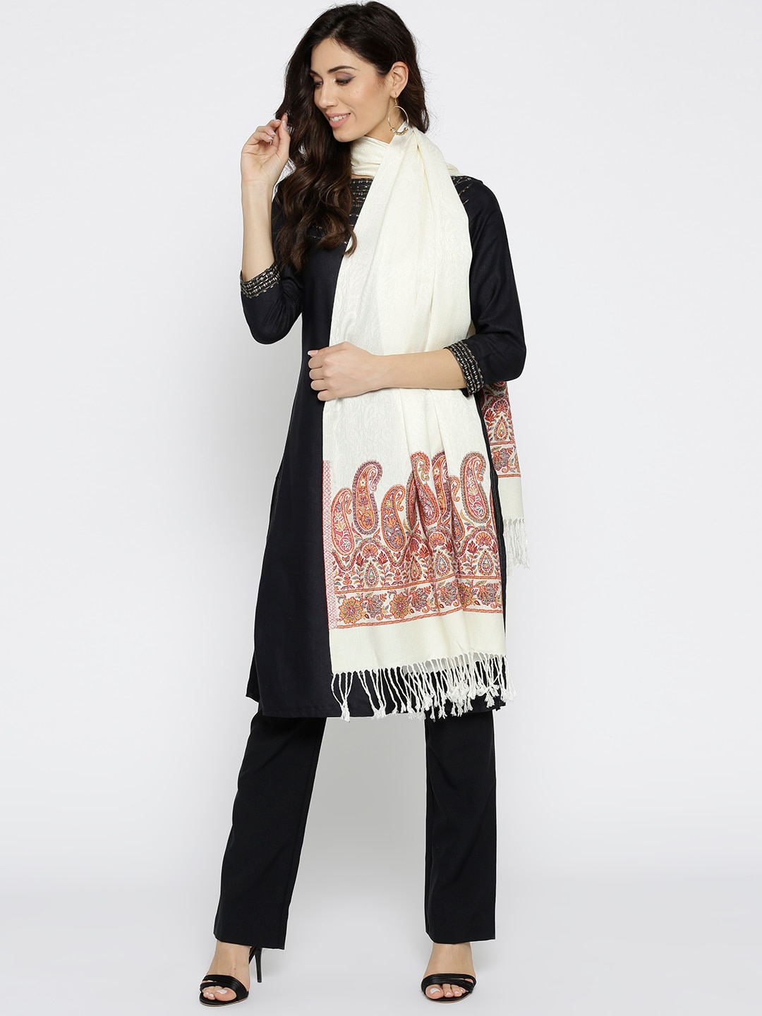 new arrivals 69cb0 251a3 HK colours of fashion Women Off-White & Maroon Self-Design Stole