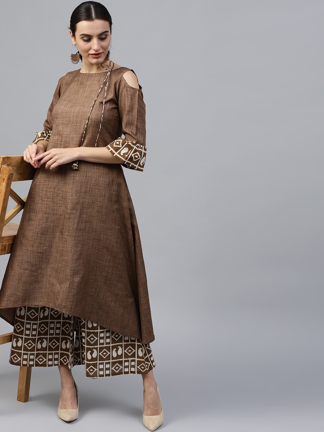 rock-bottom price how to purchase discount collection GERUA Women Brown & Off-White Solid Kurta with Palazzos
