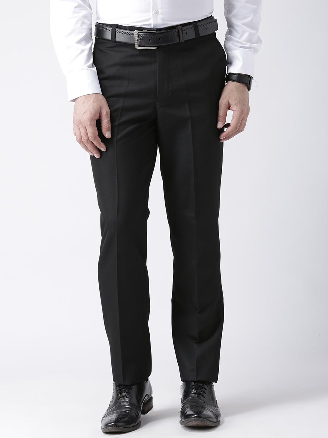 2319ce3127 hangup trend Men Black Regular Fit Solid Formal Trousers
