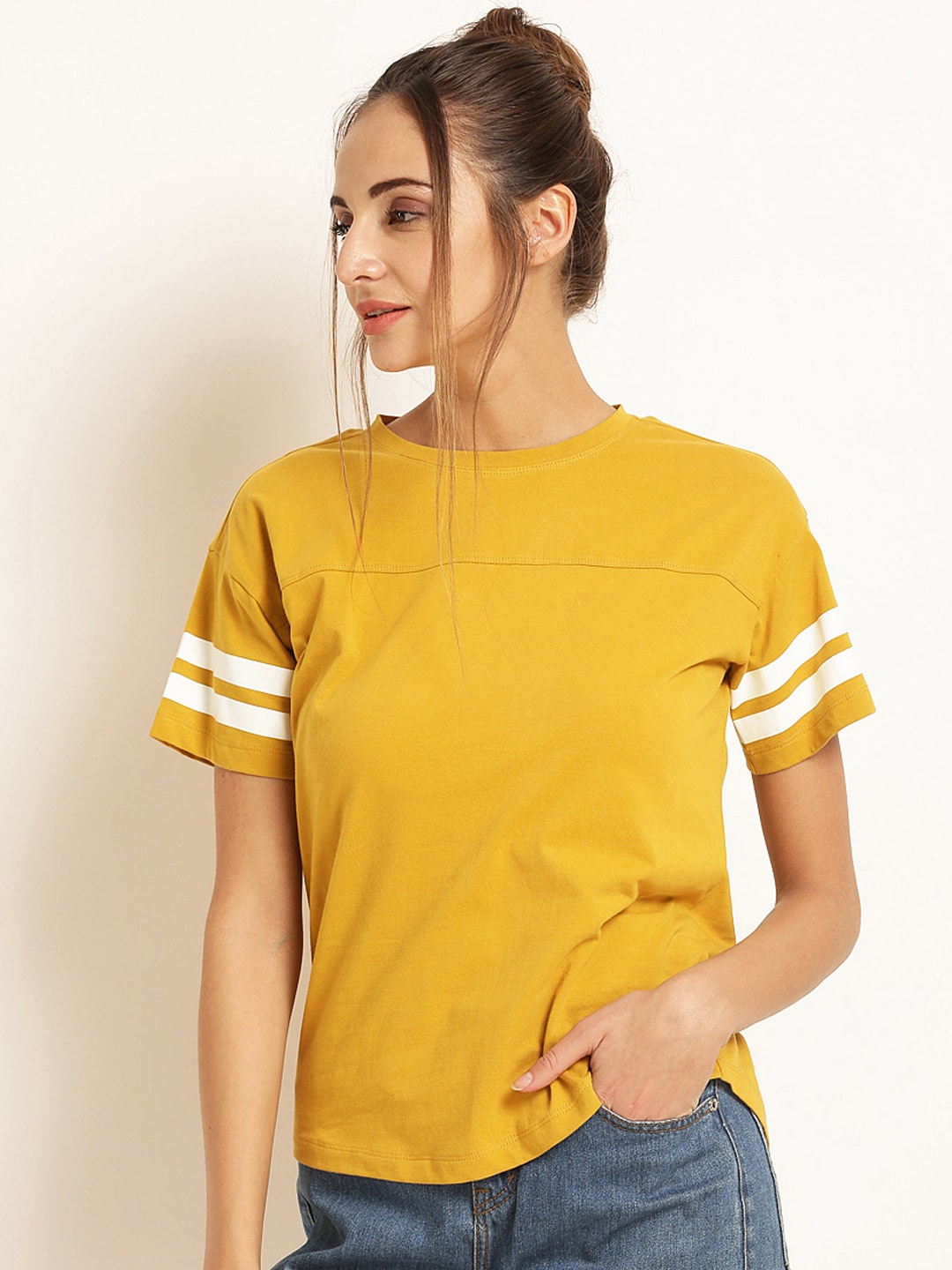 5fb2323ae21bf1 Mustard Yellow Tops - Buy Mustard Yellow Tops online in India