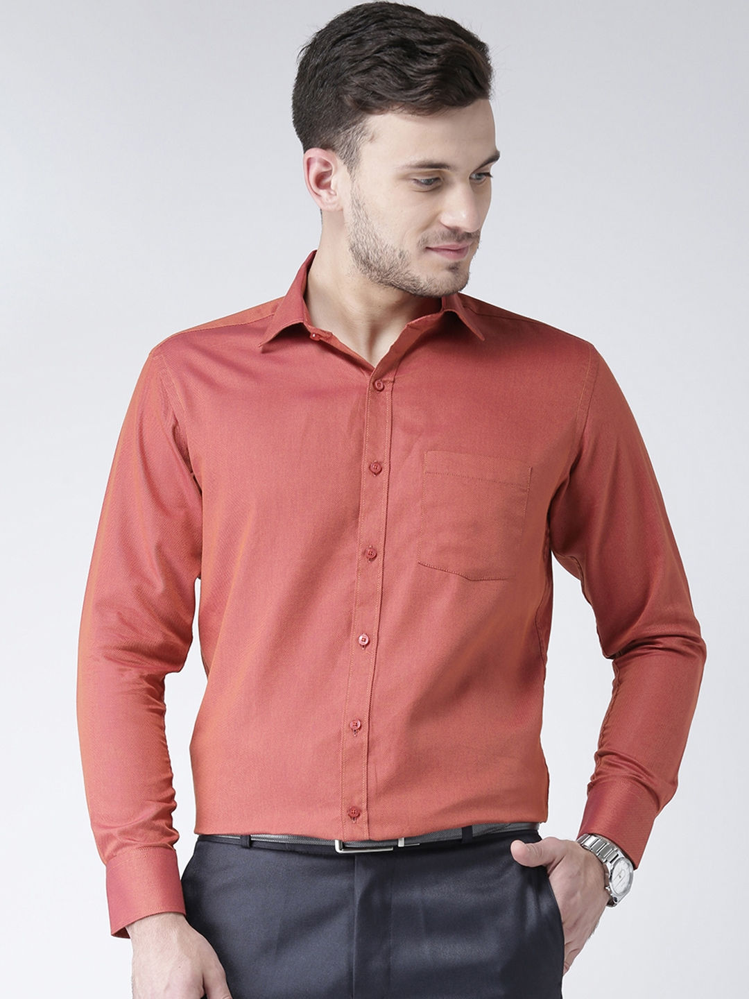 9beb8c46 Zeal Men Coral Standard Solid Formal Shirt