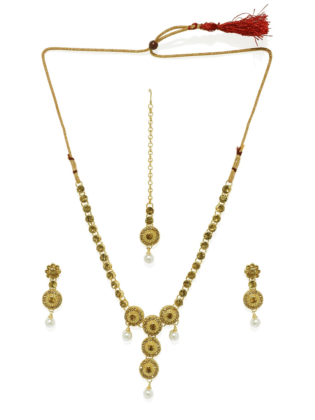 0b3f4c24d8e27 Spargz Gold-Plated & Brown Necklace Set With Maang Tika