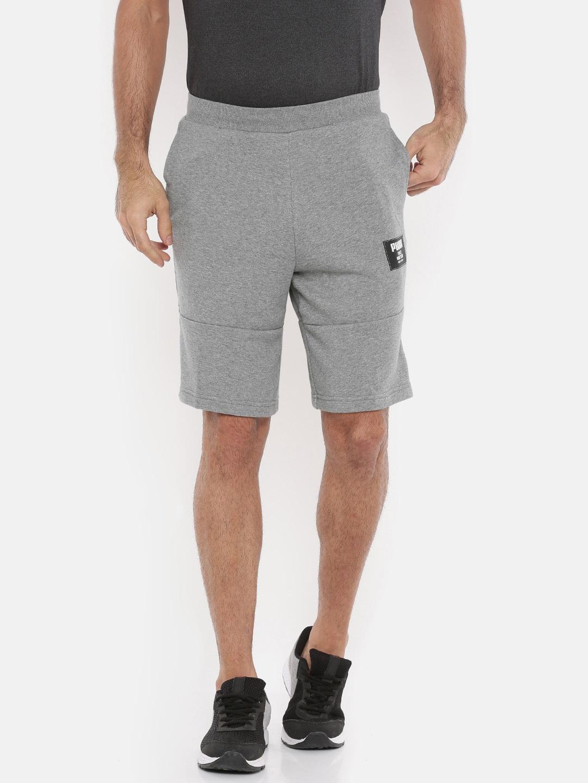 Block Puma Men Solid Shorts Melange Grey Rebel shxotCdrBQ