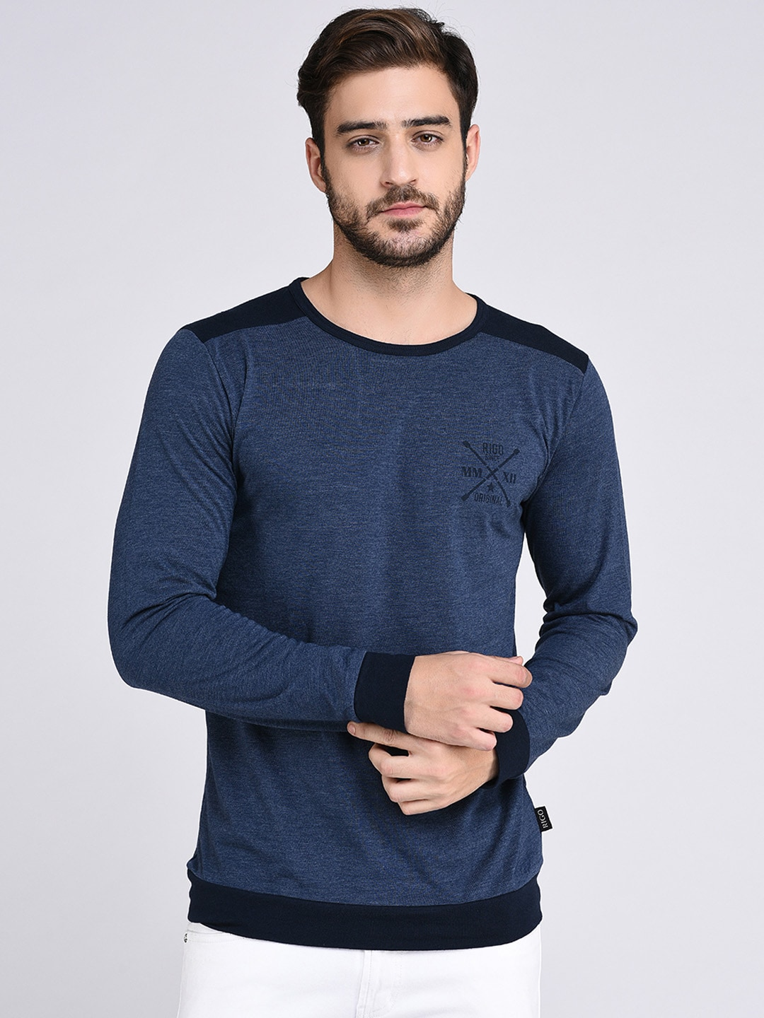 8614ef13a0a788 Rigo Men Blue Solid Round Neck T-shirt