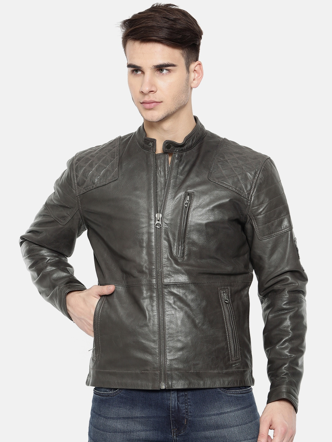 best authentic cca52 a8453 Pepe Jeans Men Charcoal Grey Solid Leather Jacket