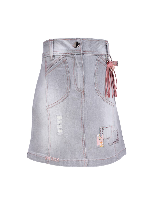 dbe7a883 CUTECUCUMBER Girls Grey & Pink Denim Skirt