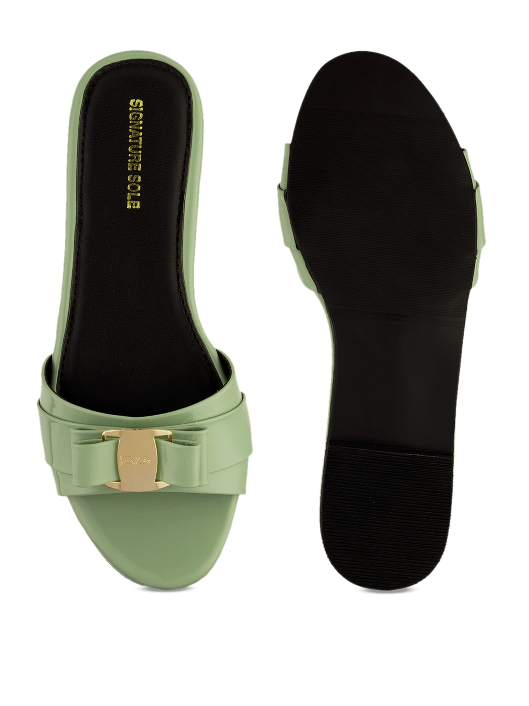 Signature Sole Women Green Solid Synthetic Patent Open Toe Flats