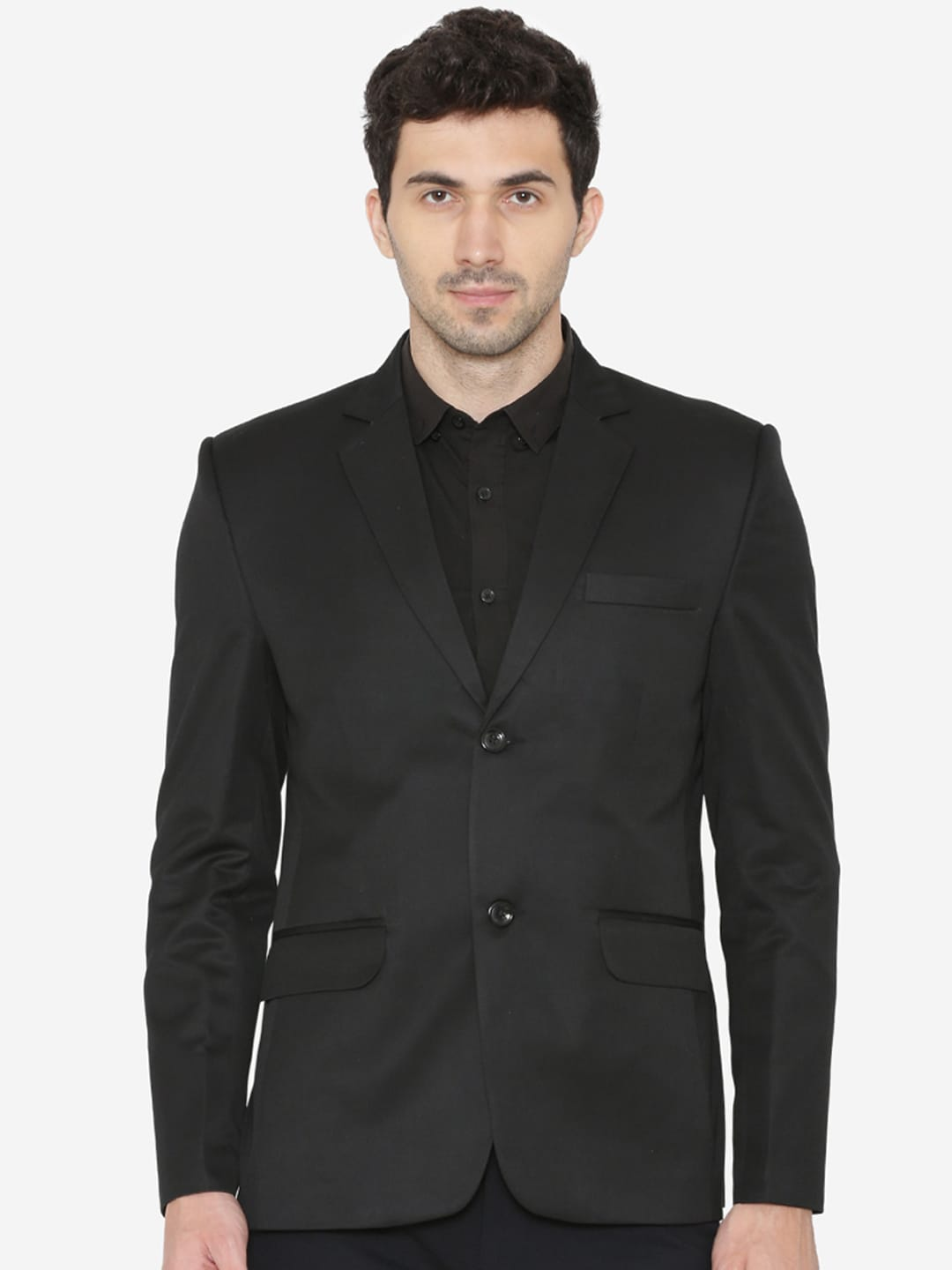 Wintage Men Black Solid Tailored Fit Single Breasted Formal Blazer