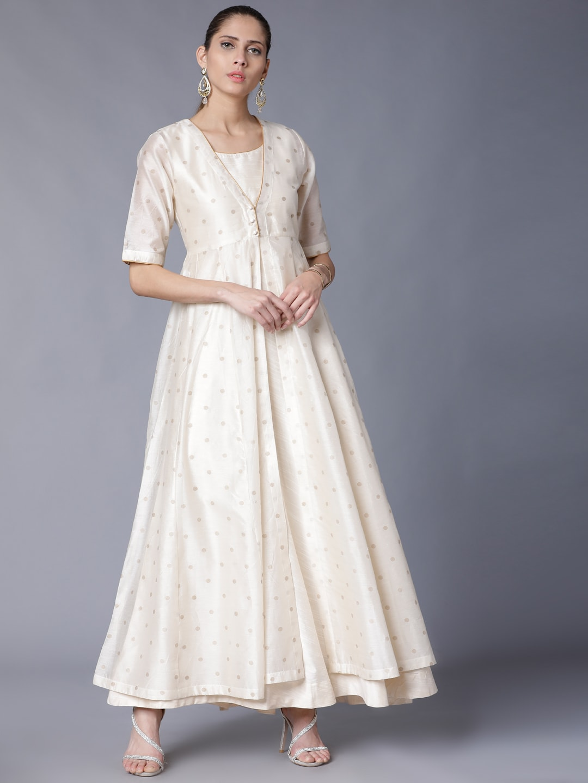 Vishudh Women Cream-Coloured Solid Maxi Dress