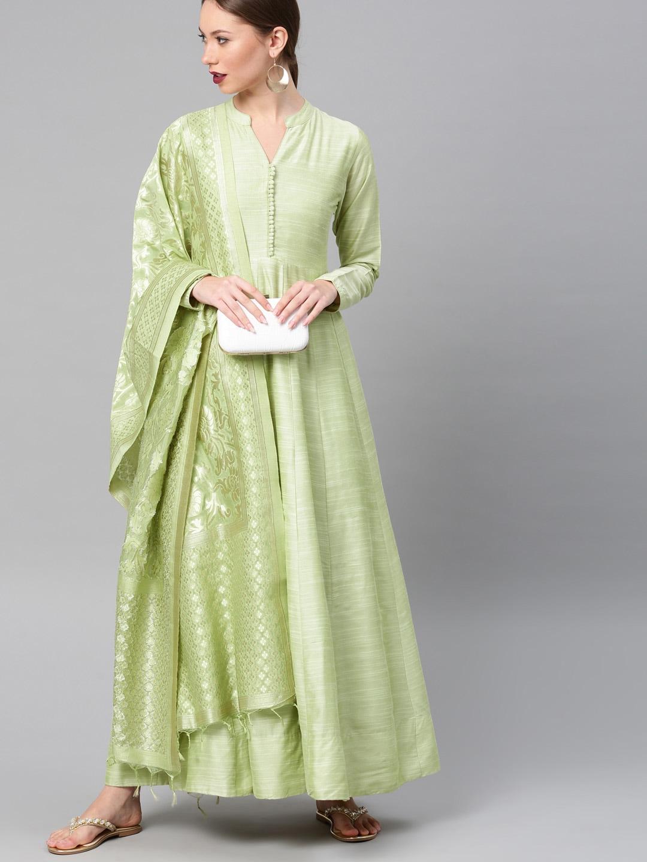 Vishudh Women Lime Green Solid Maxi Dress With Dupatta