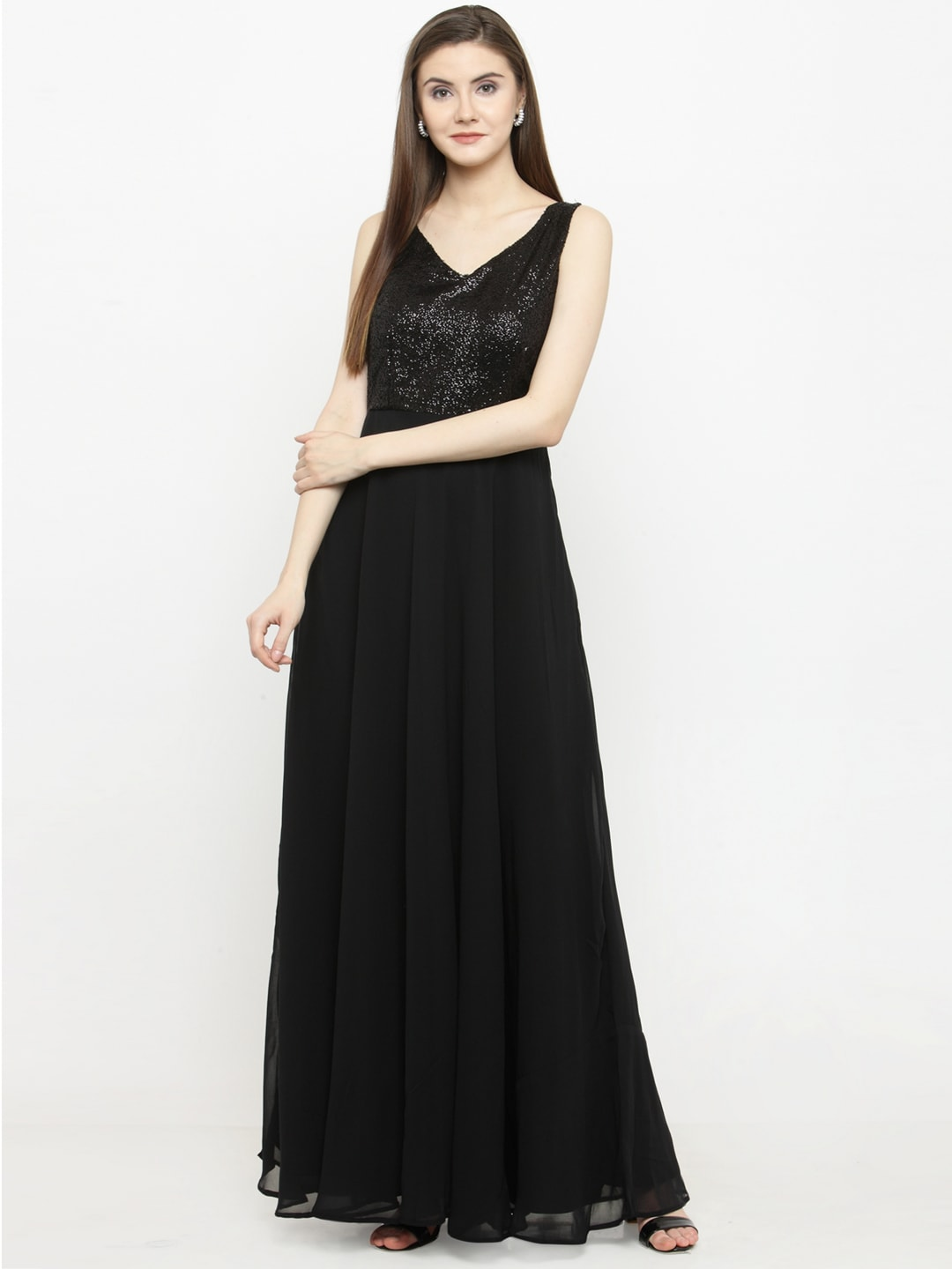 Just Wow Women Black Embellished Maxi Dress