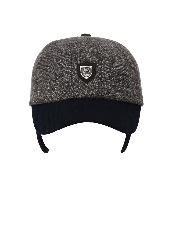 5d8c98cfa FabSeasons Unisex Charcoal Grey & Black Colourblocked Baseball Cap