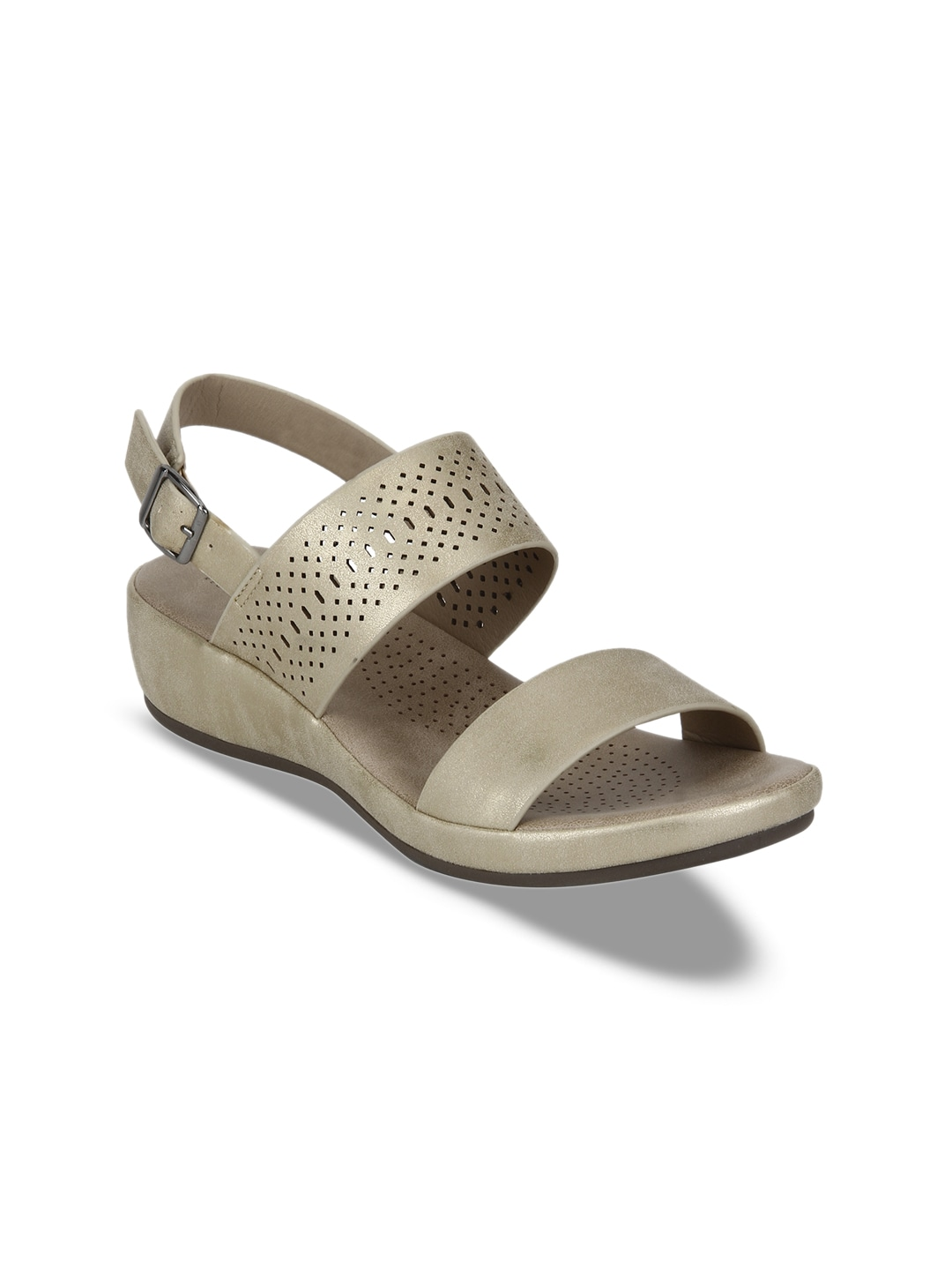 aff657617fd Mode by Red Tape Women Gold-Toned Solid Sandals