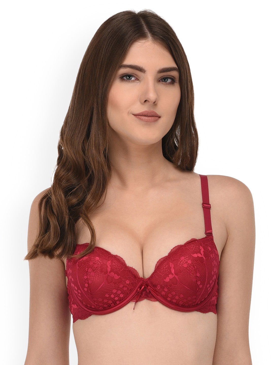 5e4b57f8d8 Quttos Red Lace Underwired Heavily Padded Push-Up Bra QT BR 8001 LC RED 36B