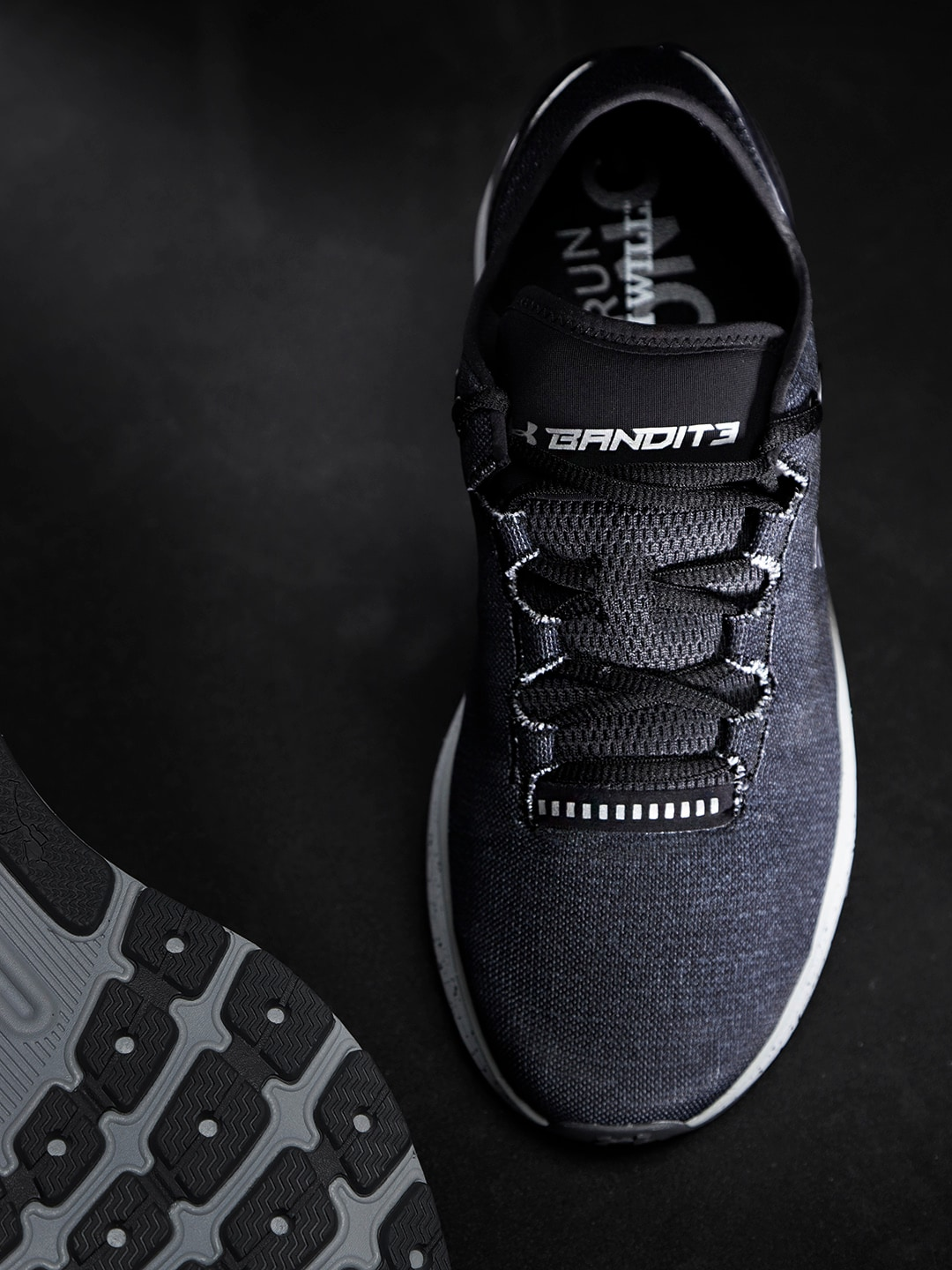new concept 077ac 3d87f Under Armour Men Charcoal Grey Charged Bandit 3 Running Shoes