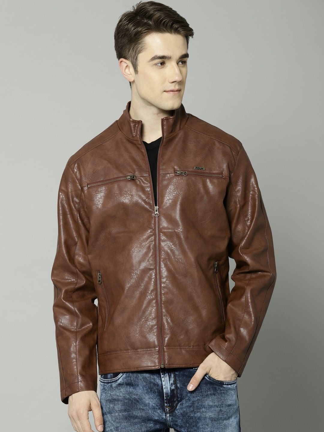 62adb23c74a Brown Leather Jacket - Buy Brown Leather Jacket online in India