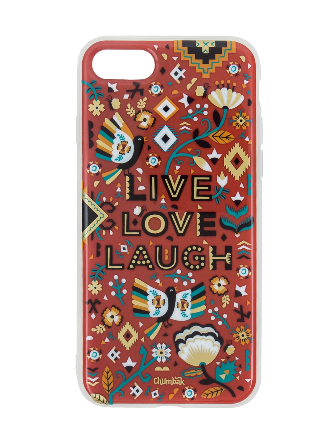 new style 336e3 efd82 Chumbak Red Aztec Garden Printed 3D Gold iPhone 8 Case