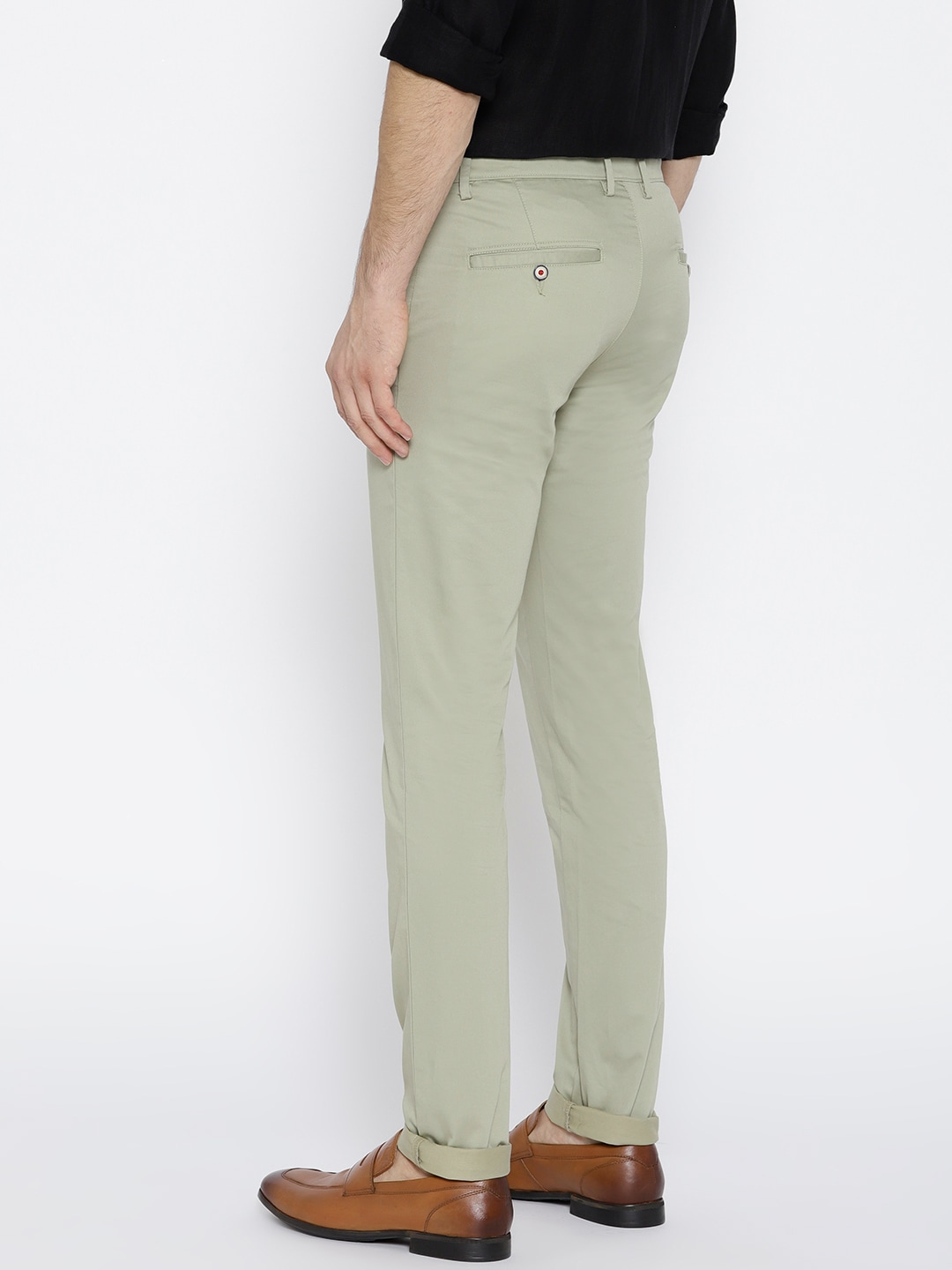 J Hampstead Men Olive Green Solid Dover Slim Fit Low-Rise Chinos