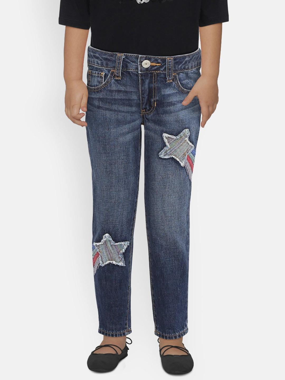 190ce82c6eb28 GAP Girls Blue Rainbow Star Patch Girlfriend Jeans