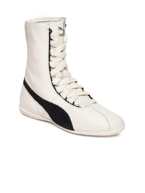 5009568a0188b Puma Women Off-White Eskiva High Top Leather Sneakers