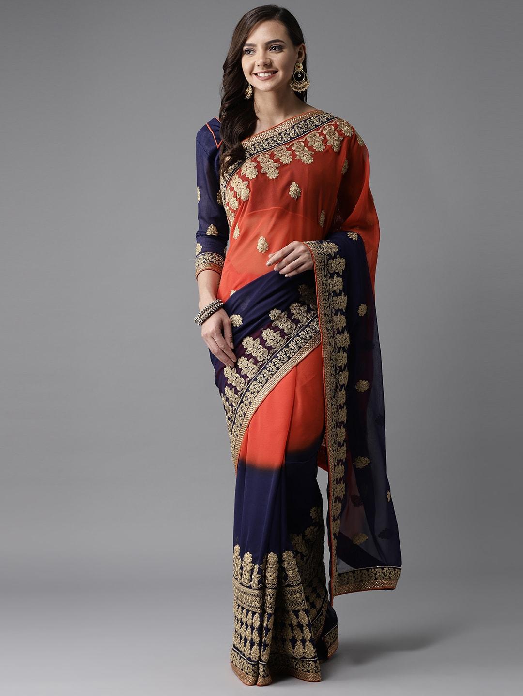 bb82e8fb4adb6a Embroidered Sarees - Buy Designer Embroidery Saree Online