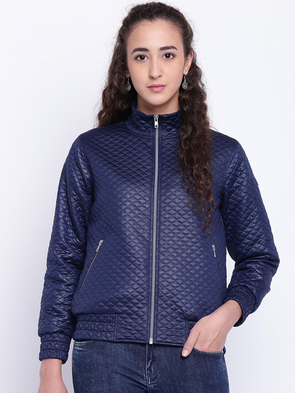 7641ba68e Texco Women Navy Blue Self Design Insulator Quilted Jacket
