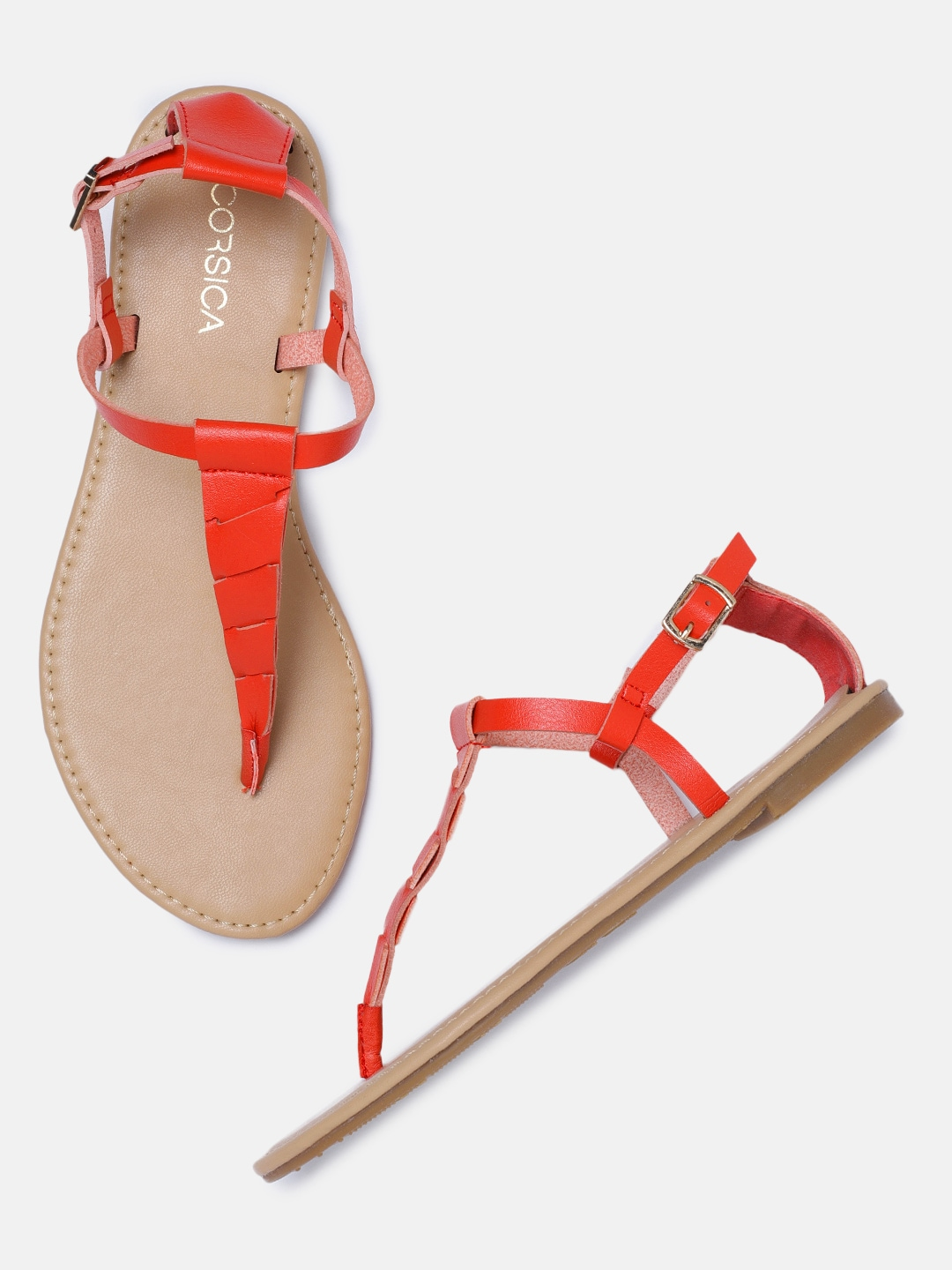 CORSICA Women Red Solid T-Strap Flats