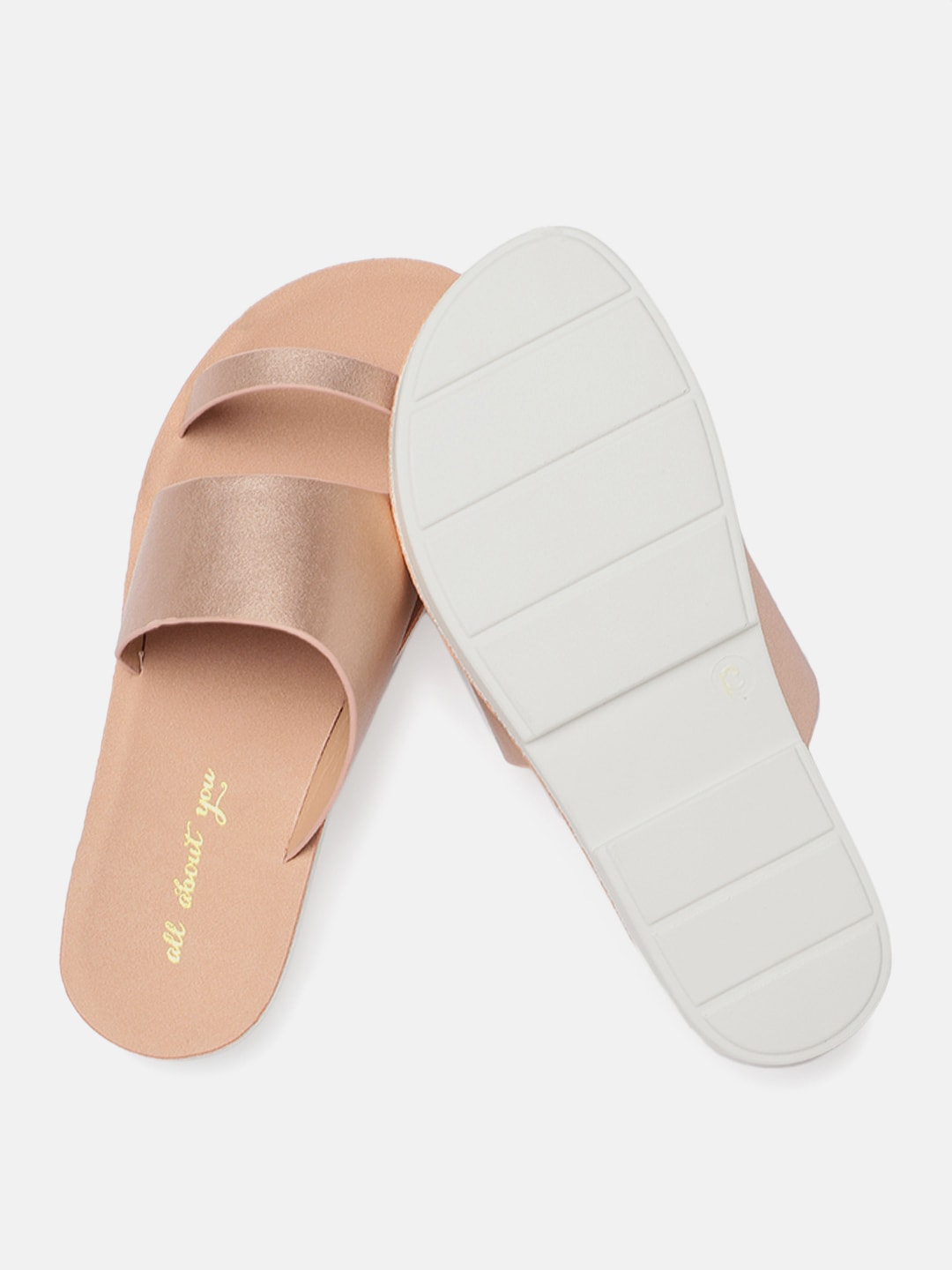 all about you Women Rose Gold-Toned Solid Open Toe Flats