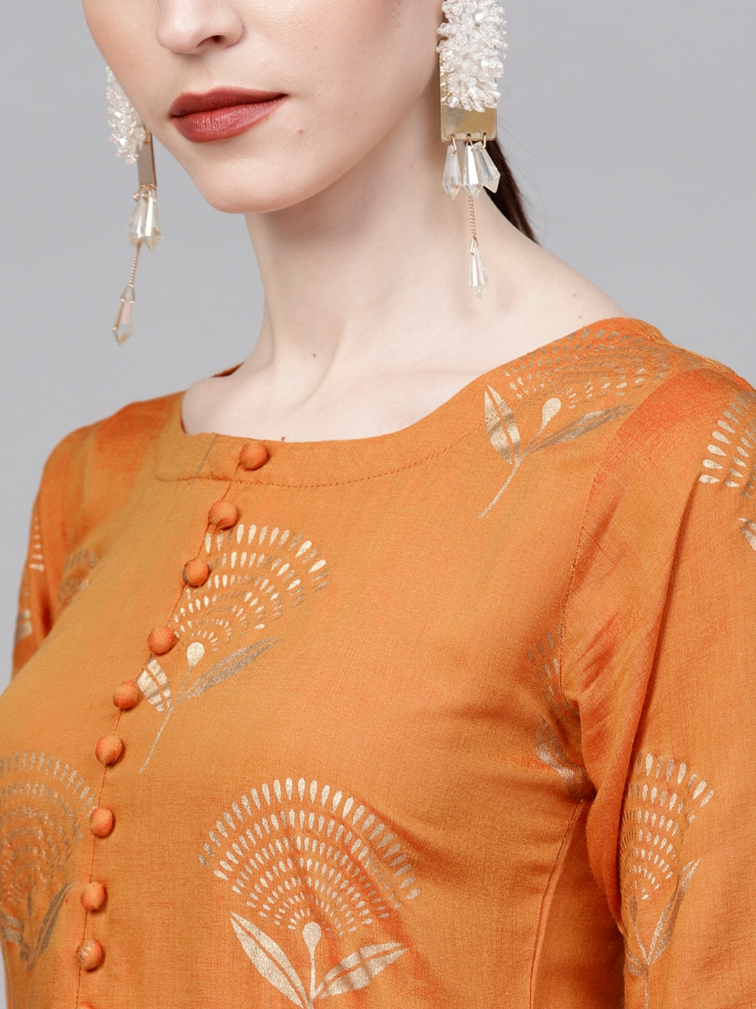 Libas Women Orange & Golden Printed Kurta with Palazzos